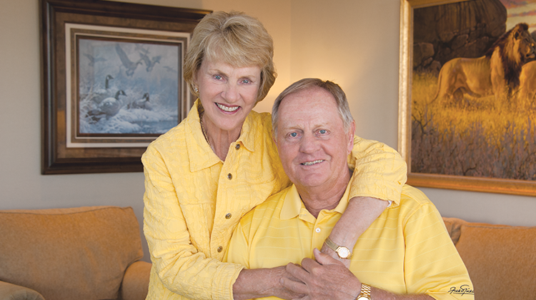 Jack and Barbara wearing their trademark golden yellow