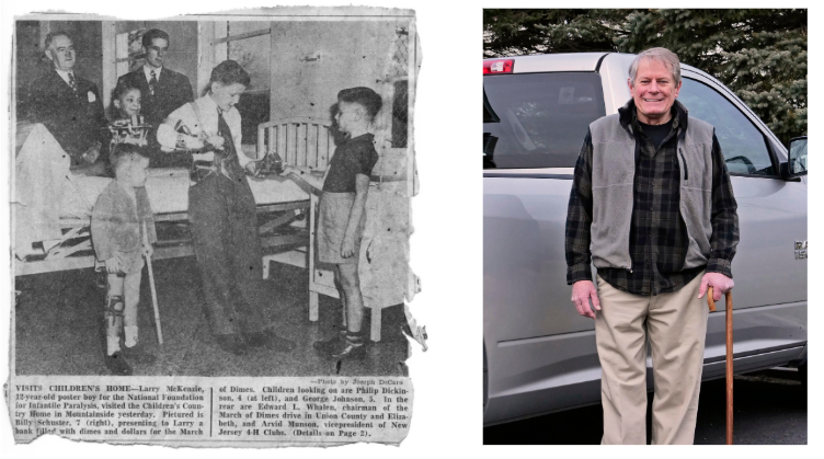 newspaper clipping of Phil as a child, and now in his old age